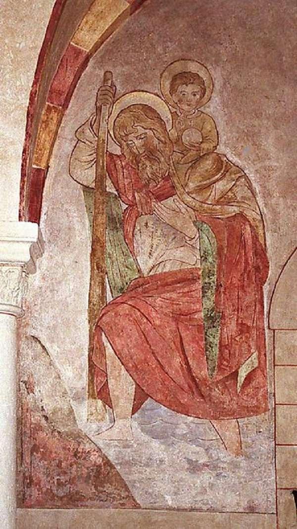 馮.卡門說,他在義大利北部博洛尼亞的一座教堂哩,看過一幅描述聖克裡斯多福背著少年耶穌赤足渡河的油畫,畫家描繪了河水在聖克裡斯多福腳跟處形成的交替的漩渦,這是最早被紀錄的卡門渦街現象
