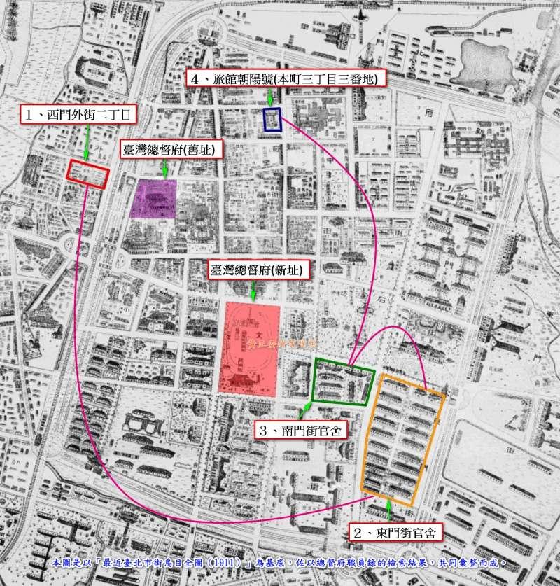 圖3:近藤十郎在臺定居時的遷移情形
