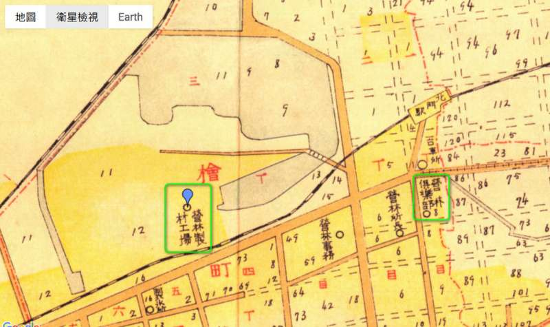 圖6:圖中藍標處乃日治時期的嘉義製材工場(圖/作者提供)