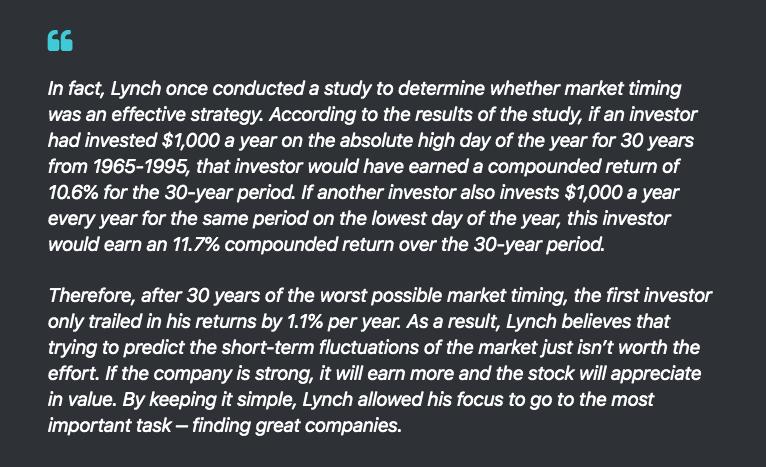 傳奇交易人彼得‧林區(Peter Lynch)對擇時交易的研究論點。(圖片截自蔡至誠。PG財經筆記)