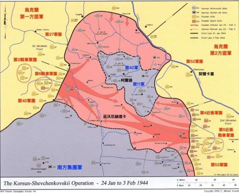 20200518-柯爾遜-契爾卡塞包圍戰戰役過程。(作者根據Michael Avanzini所繪地圖加註)