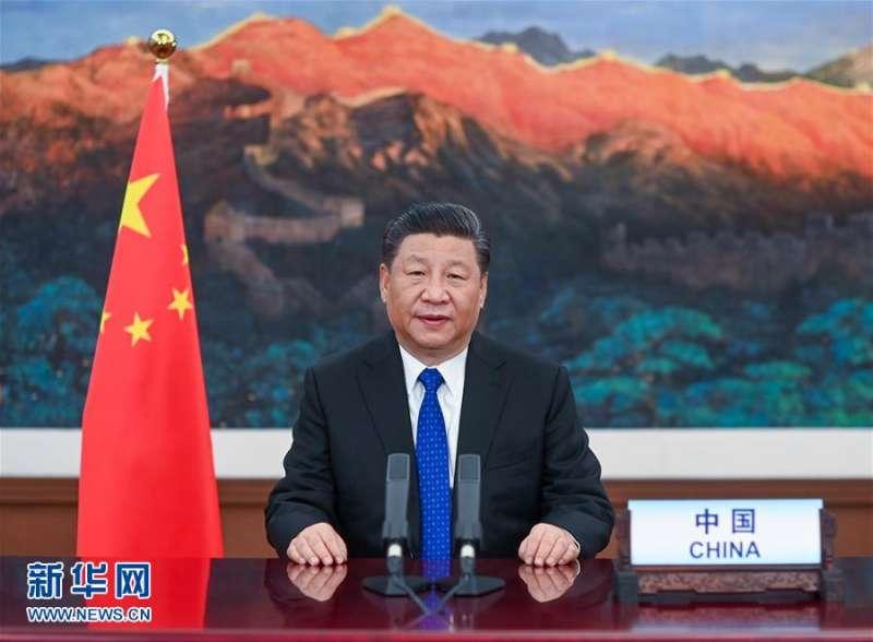 2020年5月18日,中國國家主席習近平在第73屆世界衛生大會視訊會議開幕式上致辭(新華社)