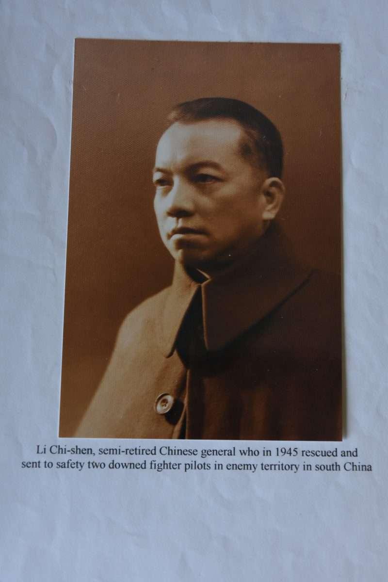 與蔣中正不合的李濟深將軍,為了爭取美國外交承認營救美軍飛行員,他的照片還被奧德羅視為恩人般的珍藏起來。(許劍虹提供)