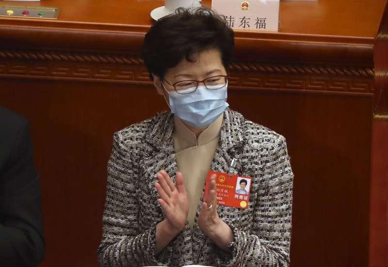 2020年5月22日,香港特首林鄭月娥在北京出席第十三屆全國人大第三次會議(AP)