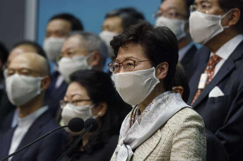 2020年5月22日,香港特首林鄭月娥召開記者會為「港版國安法」辯護 (AP)