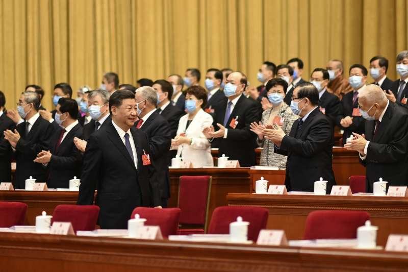 2020年5月22日,中國第十三屆全國人大三次會議開幕,習近平出席(AP)