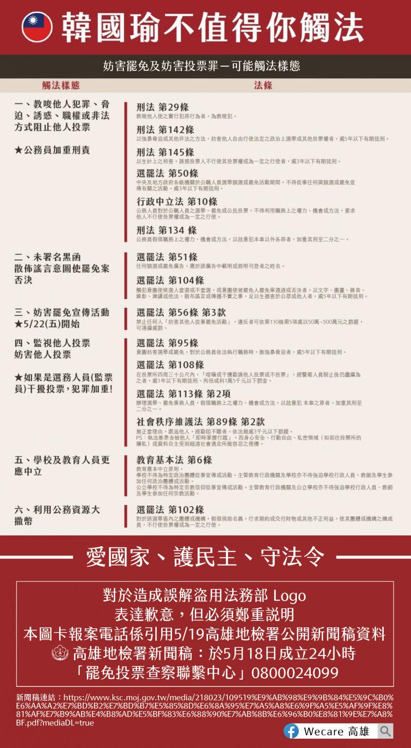 20200526-罷韓團體Wecare高雄將法務部logo用在罷韓文宣圖卡上。Wecare高雄表達歉意,並更新文宣移除法務部logo。(Wecare高雄提供)