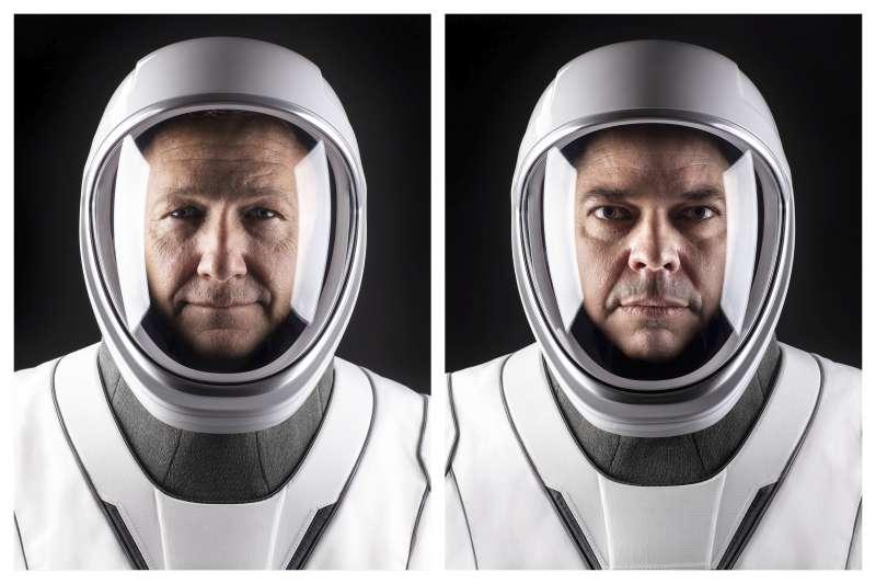 2020年5月30日,美國太空人赫利(Doug Hurley,左)與貝恩肯(Bob Behnken)搭乘SpaceX公司太空船「天龍乘員號」(Crew Dragon)前往國際太空站(AP)