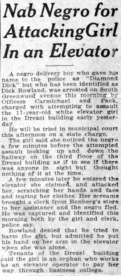 1921年,美國奧克拉荷馬州土爾沙市格林伍德區遭到種族主義屠殺,當時報紙指控是「黑鬼」騷擾附近白人女性。(取自維基百科公有領域)
