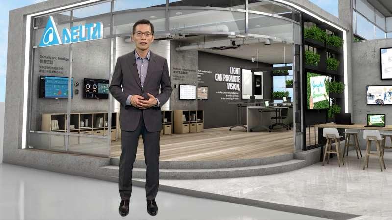 台達樓宇自動化事業群資深處長江文興介紹台達方案如何打造健康綠建築。(圖/台達提供)