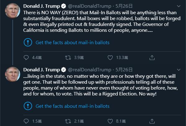 美國總統川普日前在推特上發布「不實資訊」,遭到推特官方「打臉」,直接附上事實查核連結。(擷取自Twitter@realDonaldTrump)