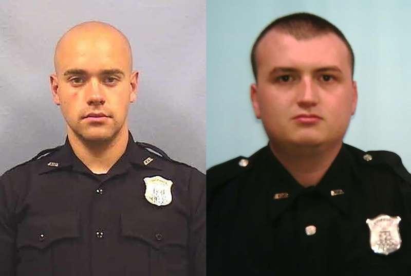 2020年6月12日, 美國亞特蘭大警察羅爾夫(Garrett Rolfe,左)開槍擊斃黑人青年布魯克斯(Rayshard Brooks),引發大規模示威抗議,右為另一名涉案員警布朗森(Devin Bronsan)(AP)