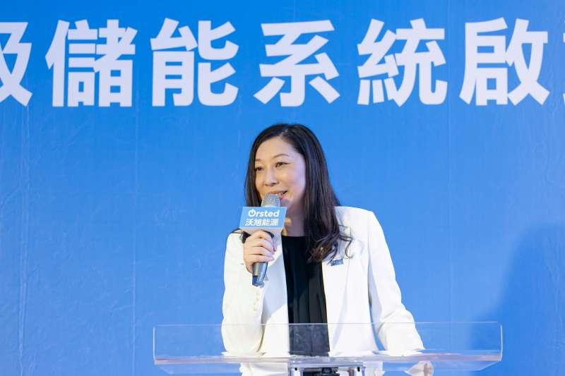 沃旭能源台灣總經理汪欣潔表示,沃旭能源贊助設置百萬瓦級儲能示範系統以及儲能研究。(沃旭能源提供)