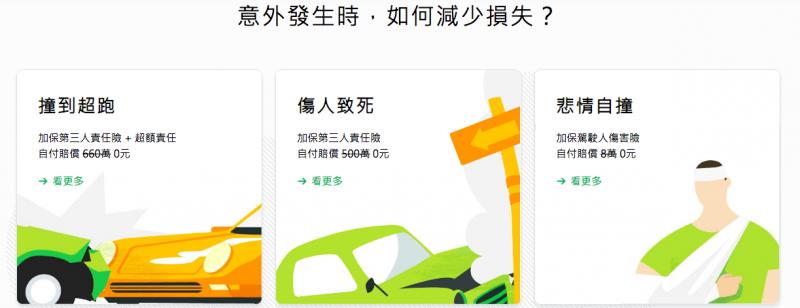 圖說:國泰產險線上投保網站,詳細介紹各種狀況所需要的車險組合。(圖/國泰產險)