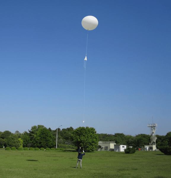 日本氣象廳的氣象監測氣球。(氣象廳官網)