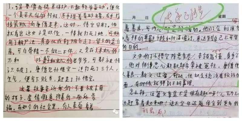 被老師要求刪改的繆可馨的作文。(圖/取自方格子)