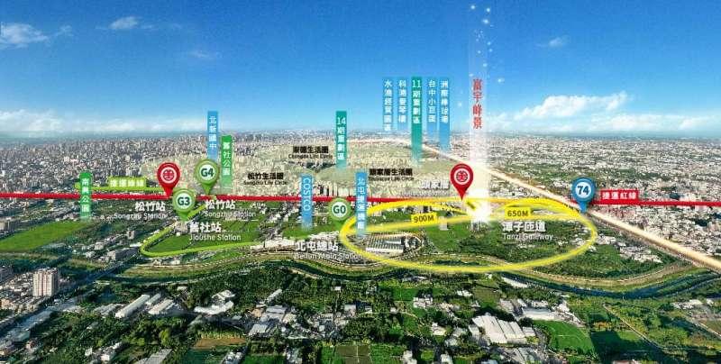 「機廠捷運特區」囊括捷運綠線G0總站、G3、G4松竹站。(圖/富比士地產王提供)