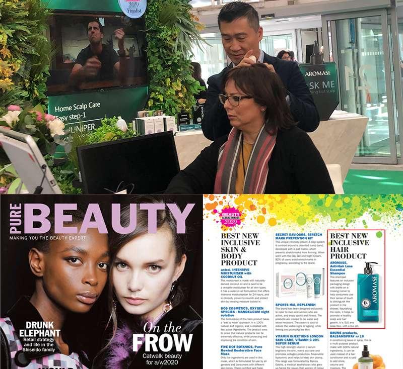 MIT站上國際舞台,AROMASE艾瑪絲夢想發光,缺角瓶身與盲人點字設計,入圍英國美妝奧斯卡獎Pure Beauty Global Awards「最佳多元包容髮品」。(圖/AROMASE艾瑪絲)