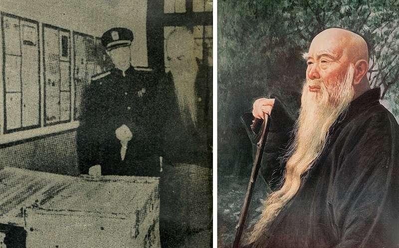 圖左為1947年國民大會代表選舉,監察院長于右投票(維基百科);右為1962年李梅樹繪製之于右全肖像「太平老人」(李梅樹紀念館,維基百科)
