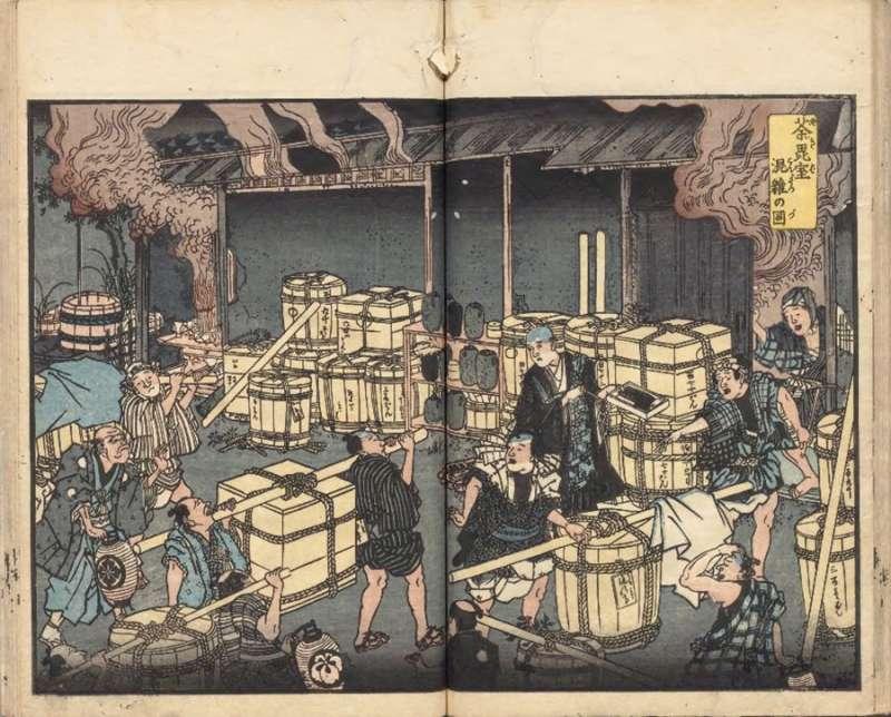 《安政箇勞痢(霍亂)流行記》(國立公文書館藏)的卷首插圖《荼毘室(火葬場)混雜圖》,描繪了棺材堆積如山,來不及火葬的情景。(圖/作者提供)
