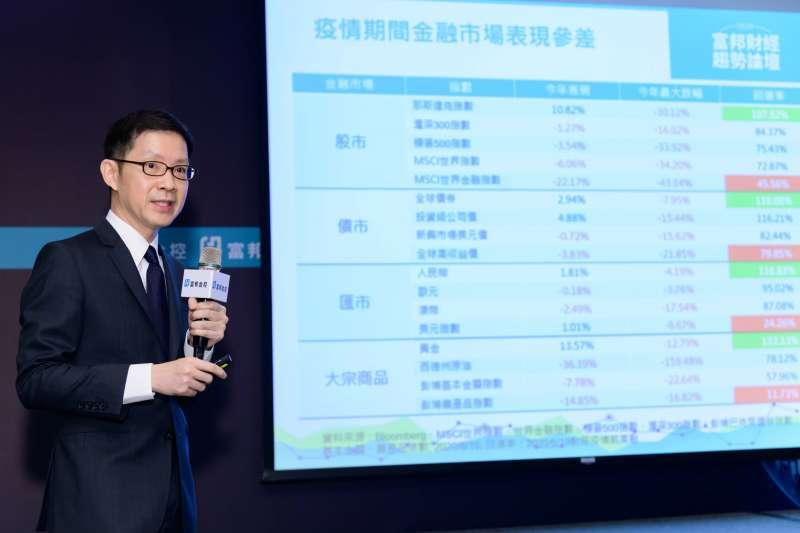 台北富邦銀行資深協理曠嶽慶分享未來投資方針。(富邦金控提供)
