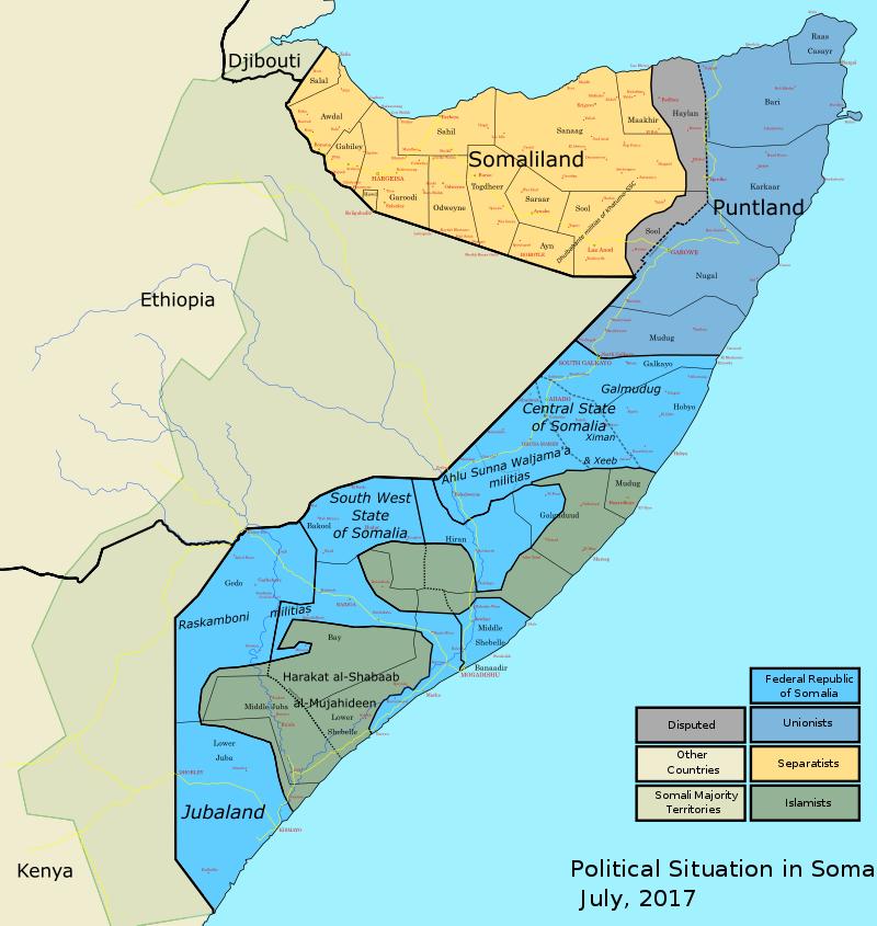 非洲之角國家現況,淺黃色為索馬利蘭、剩下藍色區域皆為索馬利亞國土。(維基百科公有領域)