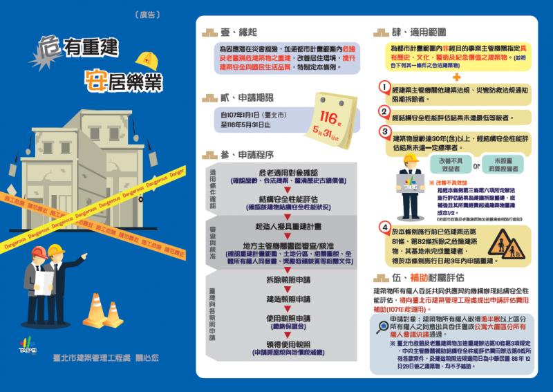 20200704-台北市積極推動危老建物改建,但申請案件仍相當低落。(取自台北市建管處網站)