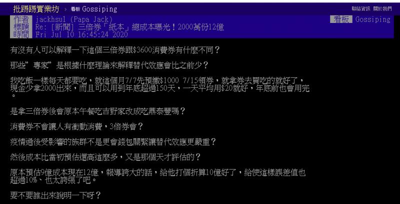 20200711-有網友在PTT上針對振興三倍券的「替代效應」提出質疑。(取自PTT八卦版)
