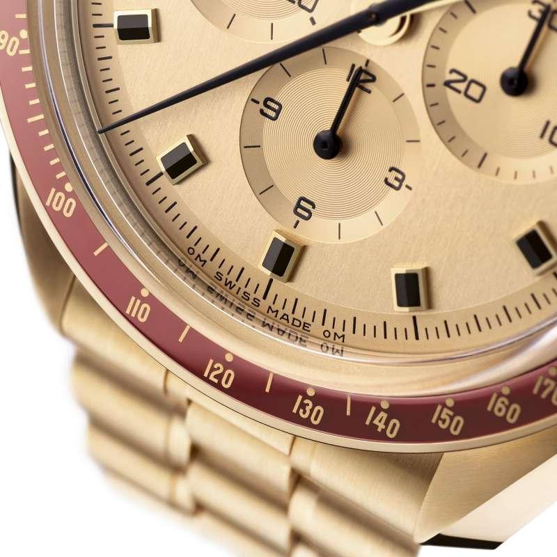 2運用Moonshine月光金打造的阿波羅11號50週年紀念限量版腕錶。(圖片提供/ Omega)
