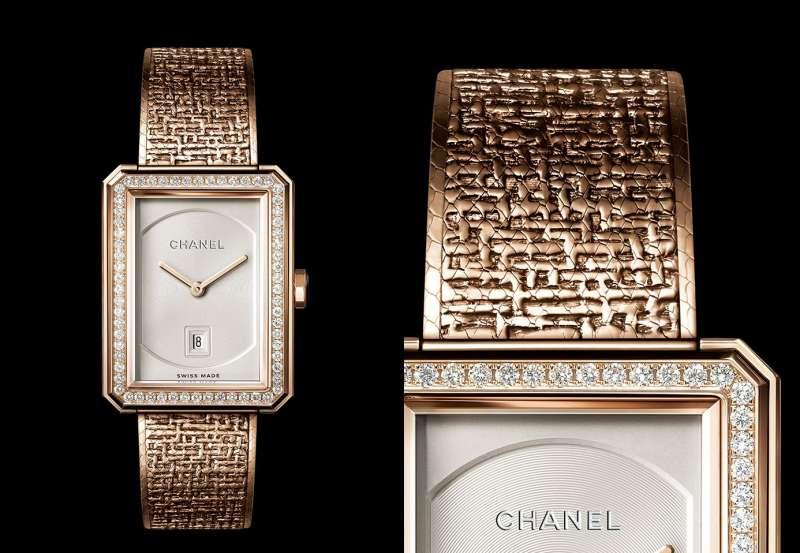 4Chanel的Boy・Friend Tweed Beige米色金腕錶。(圖片提供/ Chanel)