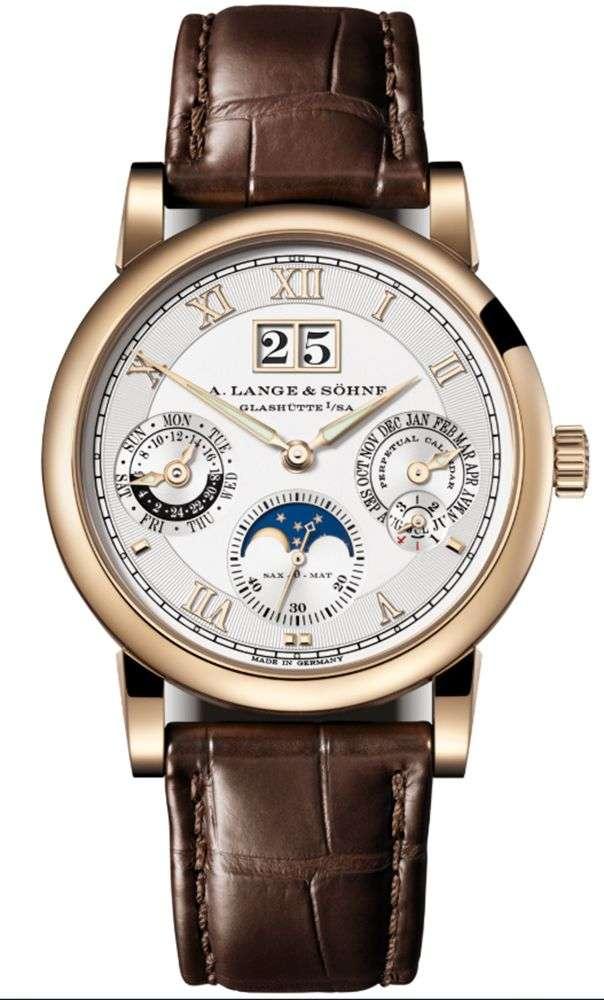 5Langematik Perpetual Honeygold 18K蜂蜜金限量版腕錶。(圖片提供/ A. Lange & Söhne)
