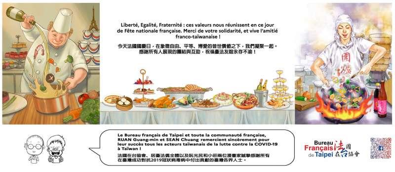 2020年7月14日是法國國慶日「巴士底日」,法國在台協會請兩位台灣插畫家合作繪製作品,彰顯台法友誼(法國在台協會)