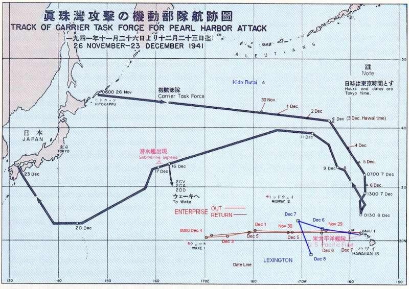 珍珠港進攻路線圖(圖/維基百科)