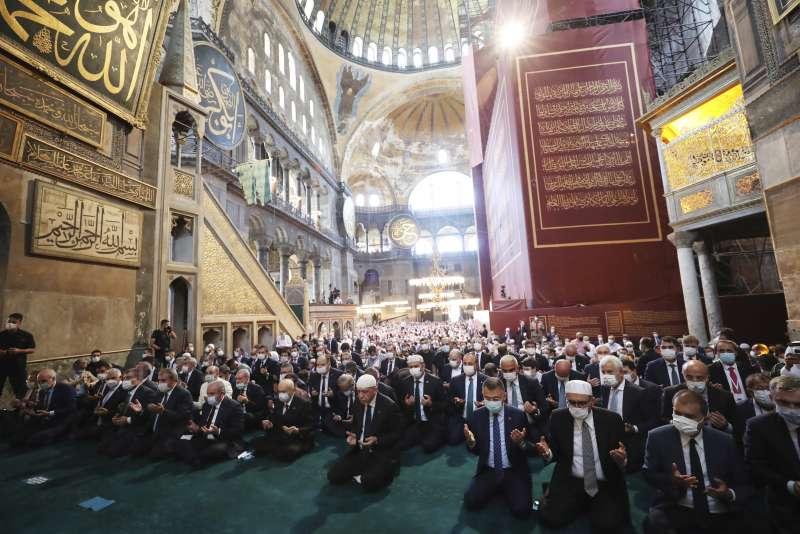 2020年7月24日,土耳其伊斯坦堡的聖索菲亞(Hagia Sophia)正式從博物館轉型為清真寺(AP)