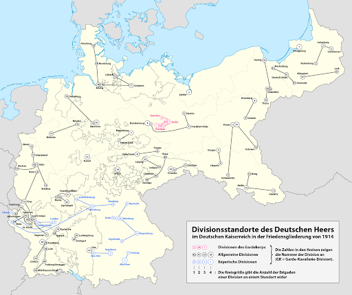 1914年德國軍區位置圖(資料取自Wikimedia Commons)