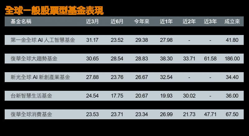 全球一般股票型基金表現