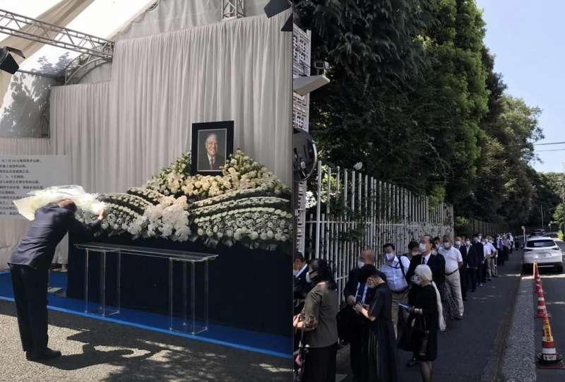 日本上千民眾前往臺北駐日經濟文化代表處悼念會場,弔唁已故臺灣首位民選總統李登輝。(翻攝謝長廷臉書)