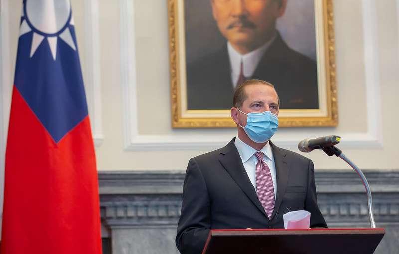 20200810-美國衛生部長阿札爾(見圖)與總統蔡英文會面,並致詞。(資料照,總統府提供)