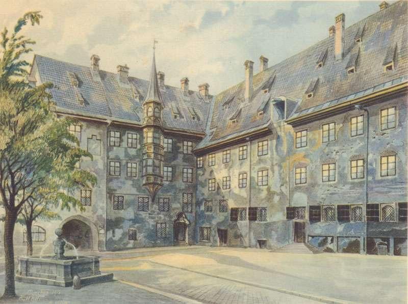 希特勒畫作《慕尼黑的舊居庭院》(圖/維基百科)