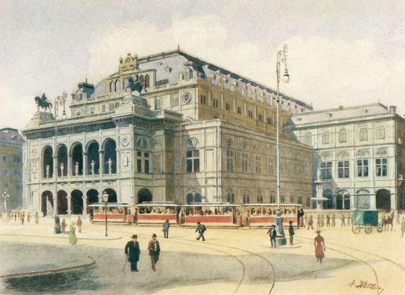 希特勒畫作《維也納國家歌劇院》(圖/維基百科)
