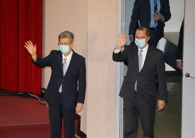 20200811-前副總統陳建仁、美國衛生部長艾薩11日出席專題演講。(盧逸峰攝)