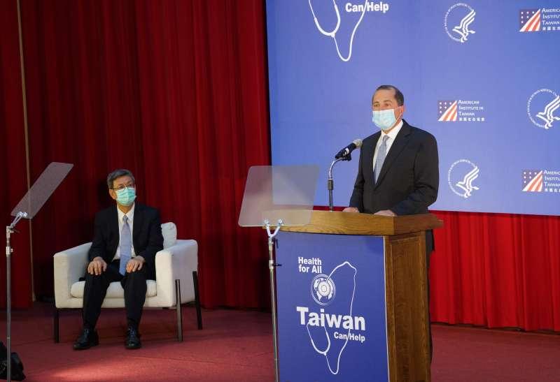 20200811-美國衛生部長艾薩11日於台大公衛專題演講。(盧逸峰攝)