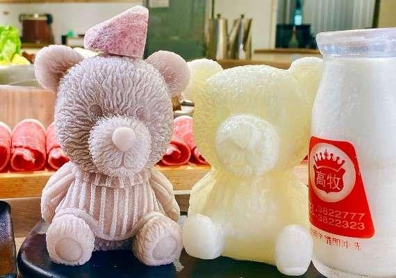 愛食鍋牛奶鍋部分有白色、黃色跟紫色熊熊可以選擇。(圖/取自愛食鍋麻辣鴛鴦-裕誠店 粉專)