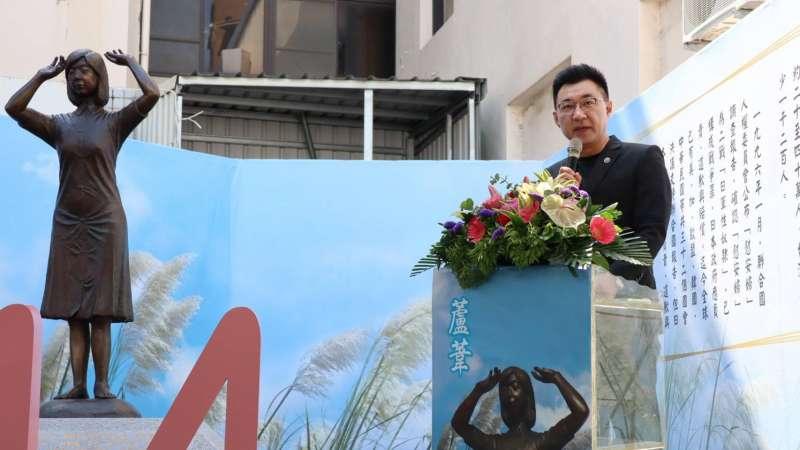 20200813-國民黨主席江啟臣、前總統馬英九、台南市議員謝龍介等人今到台南,參與「慰安婦紀念日追思會—台灣銅像成立三週年」追思活動。(國民黨提供)