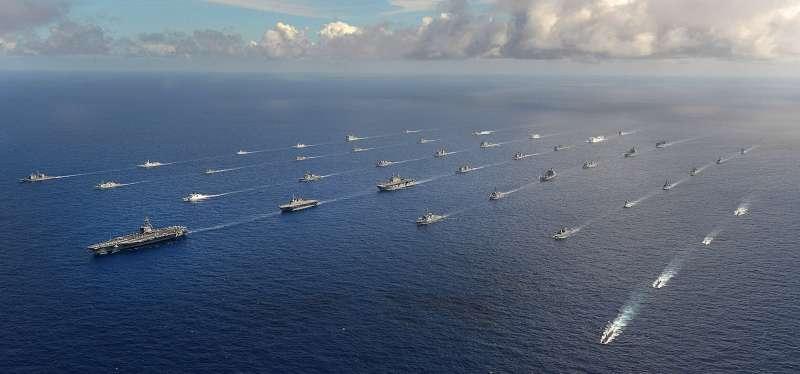 2016年環太平洋軍演的壯盛軍容。(美國海軍官網)