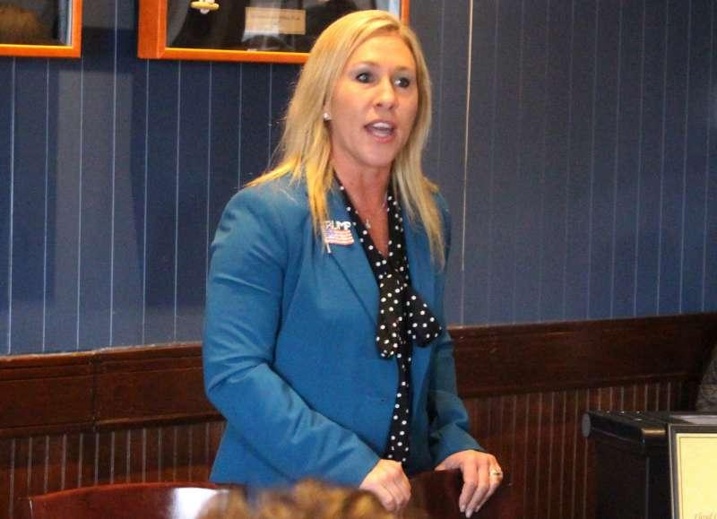 喬治亞州共和黨眾議員候選人格林,亦是「匿名者Q」的支持者。(AP)