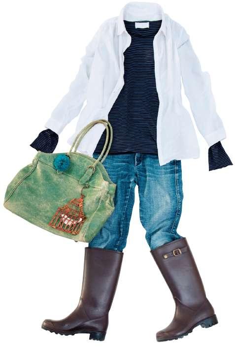 春季穿搭-長袖T恤、白襯衫、牛仔褲、長靴、真皮包包(圖/幸福文化)