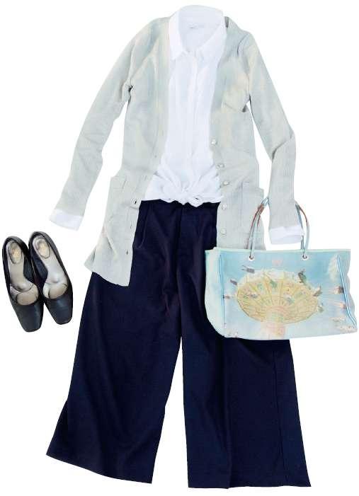 春季穿搭-白襯衫、長版針織外套、寬褲、黑色包鞋(圖/幸福文化)