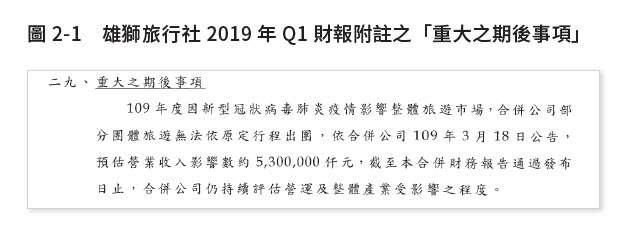是雄獅旅行社2019 年財報對新冠肺炎疫情在「重大之期後事項」揭露的內容。(圖/作者提供)