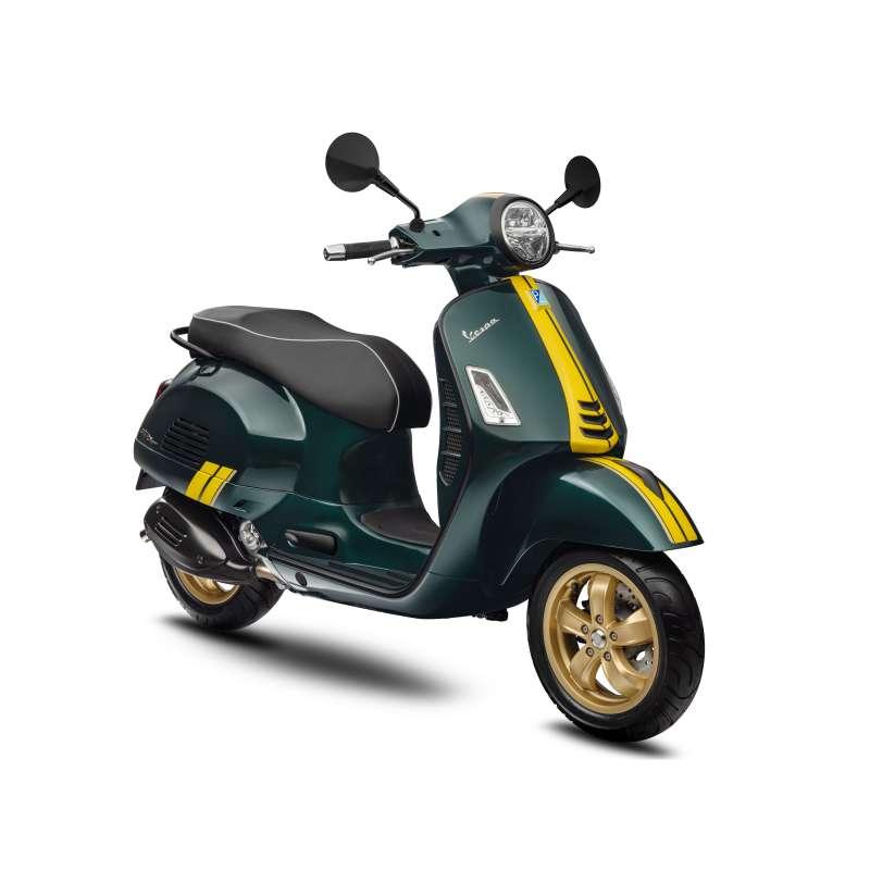 競速綠以復古綠色作為車色基底,搭配簡潔黃色線條,流露出賽車的優雅姿態。(圖/Vespa提供)